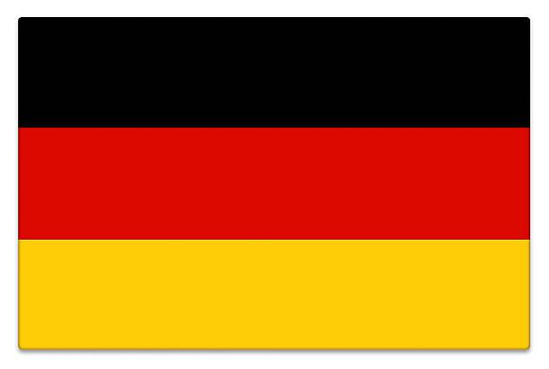 drapeau allemand sur blanc brillant - drapeau allemand photos et images de collection