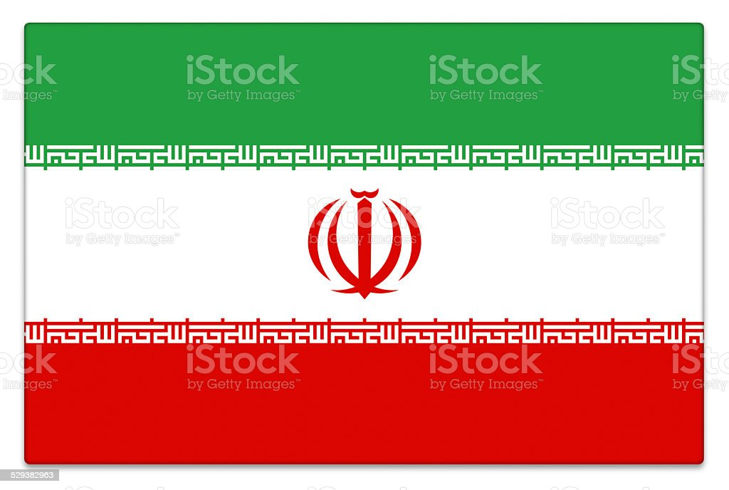 Gloss Iranian flag on white stock photo