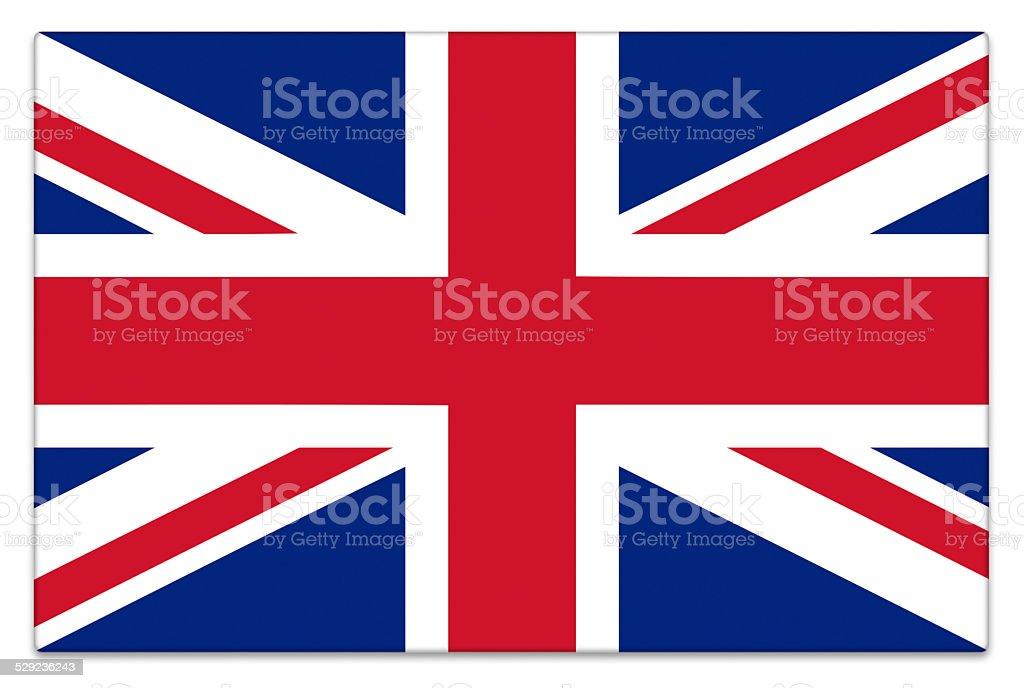 Gloss UK flag on white stock photo