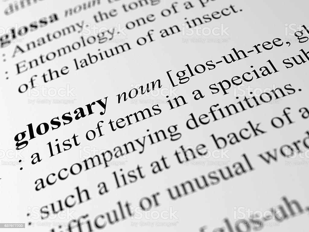 glossary stock photo
