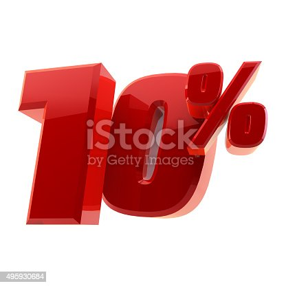 istock Glossy 10% discount symbol isolated on white background 495930684