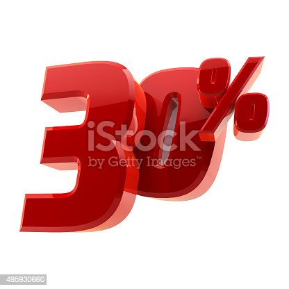 istock Glossy 30% discount symbol isolated on white background 495930660