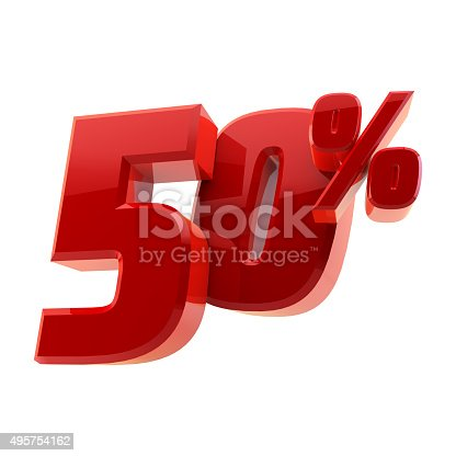 istock Glossy 50% discount symbol isolated on white background 495754162
