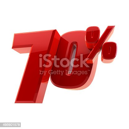 istock Glossy 70% discount symbol isolated on white background 495901578