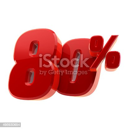 istock Glossy 80% discount symbol isolated on white background 495930654