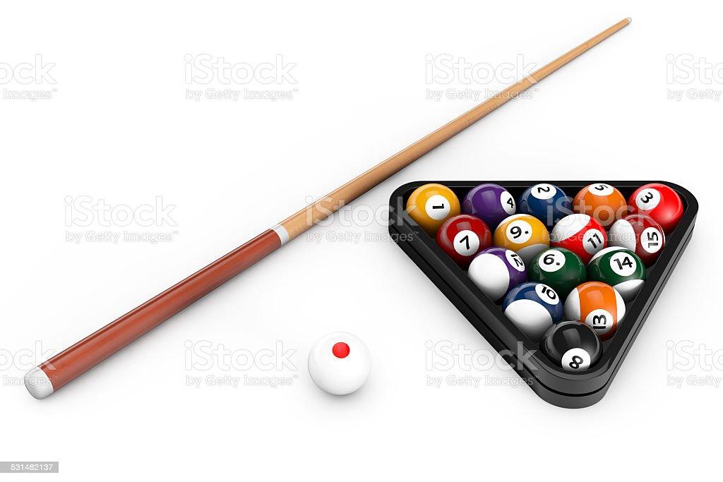 Glossy billiard balls set with cue stock photo