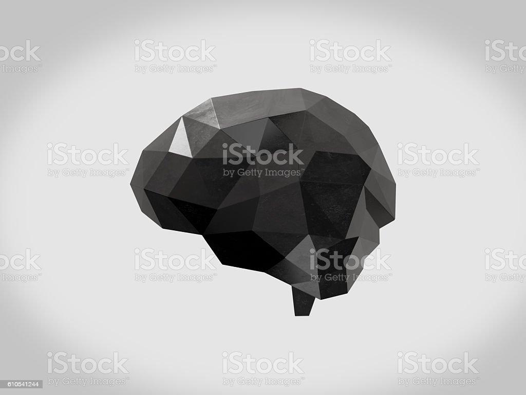 Glossy black plastic low polygon brain , Idea concept background design. stock photo