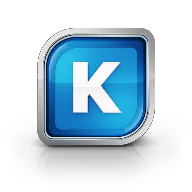 Glossy blue letter K 3d icon  k icon stock pictures, royalty-free photos & images