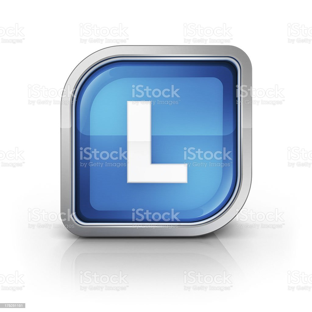 Glossy blue letter L 3d icon royalty-free stock photo