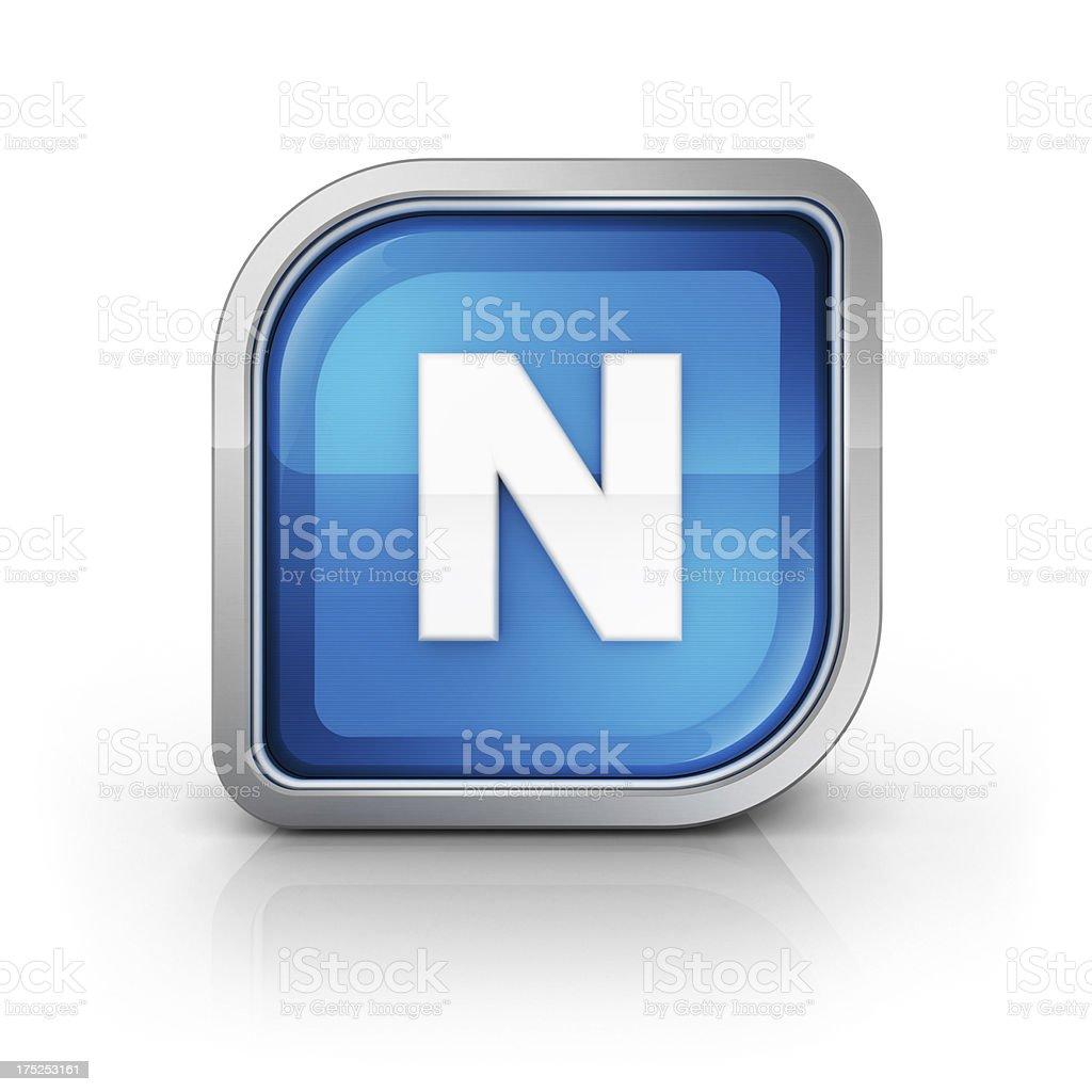 Glänzende blauer Buchstabe N 3d-Symbol – Foto