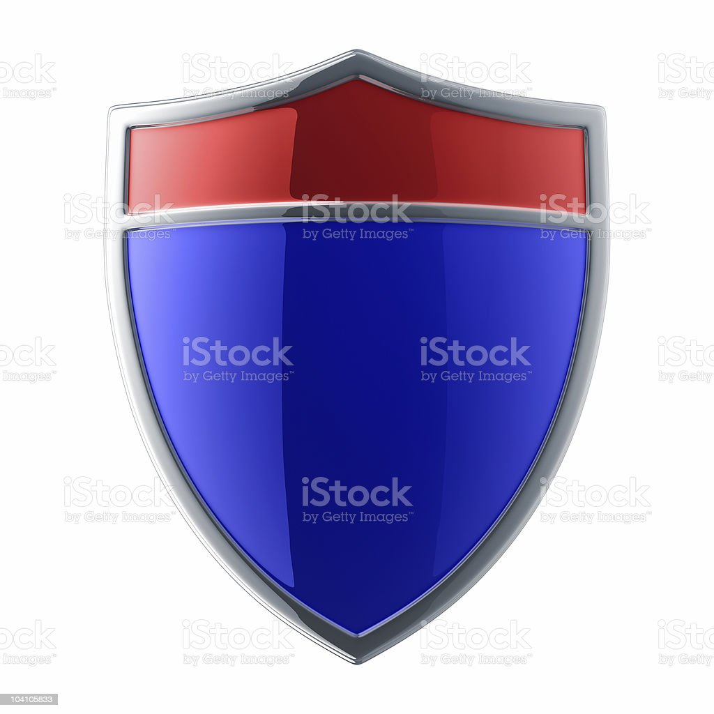 Glossy blue shield royalty-free stock photo