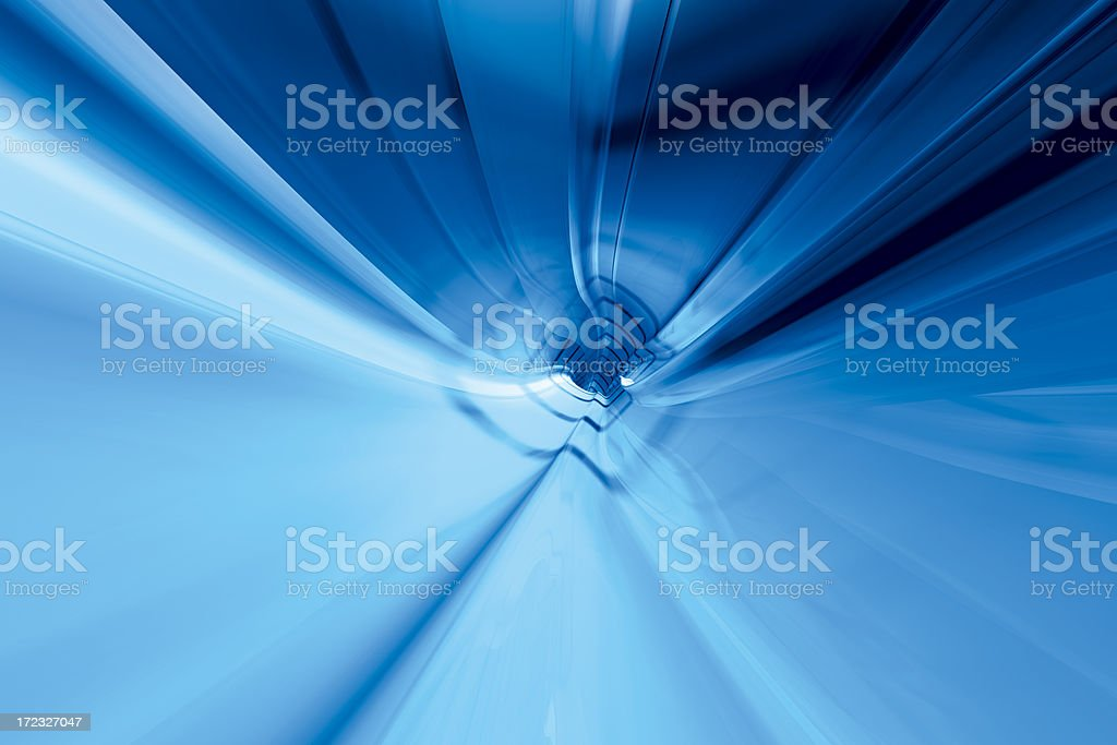 Glossy Blue Tunnel Wide Angle royalty-free stock photo