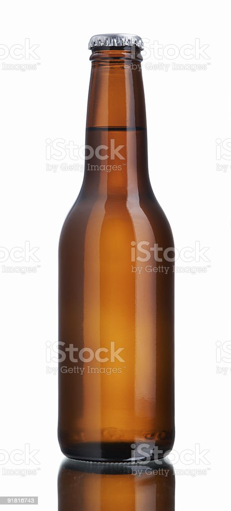 Glossy brown beer bottle stock photo