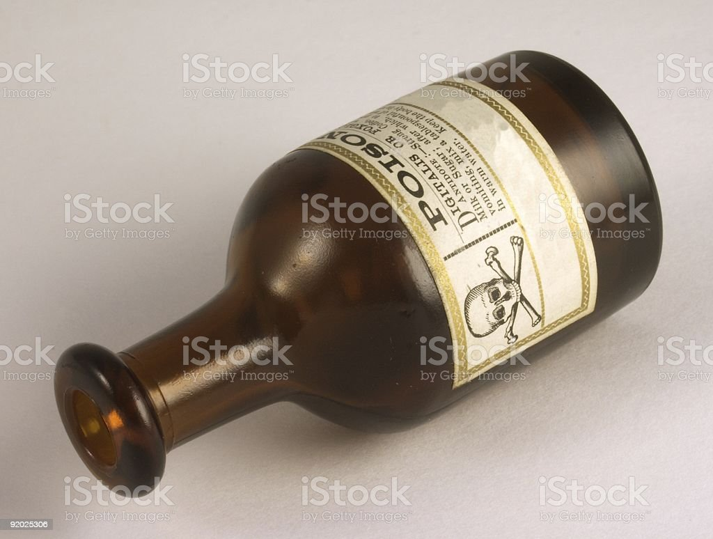 A glossy brown vintage poison bottle inscribed with writing  stock photo
