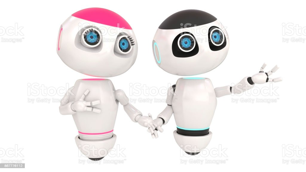 Glossy cute two white robots in love holding hands. Technology concept. Isolated on white. easily applicable for design. stock photo