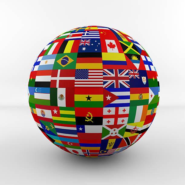 Bandera brillante globo con banderas de distintos países - foto de stock