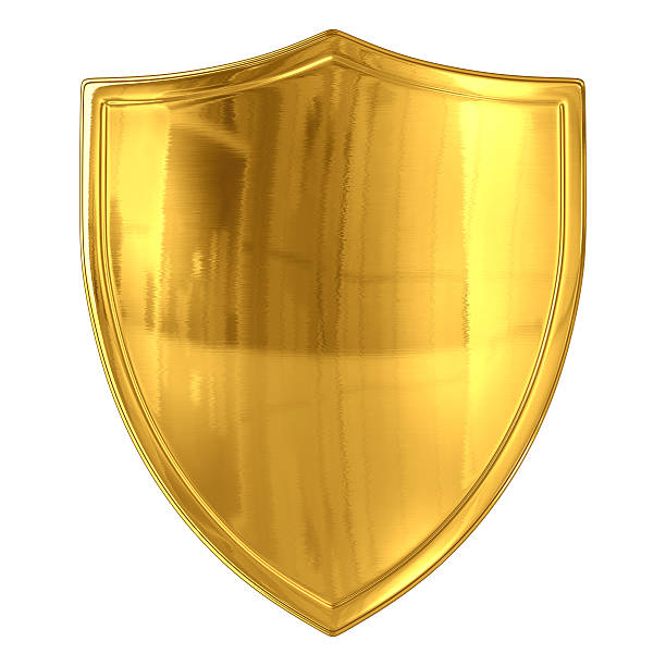 Glossy Gold Shield Isolated on white with clipping path. 3D render. insignia stock pictures, royalty-free photos & images