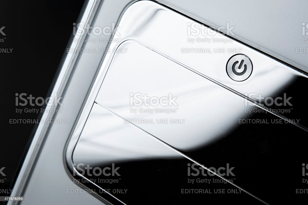 Glossy Grey Apple Macintosh Vintage Computer Close Up royalty-free stock photo