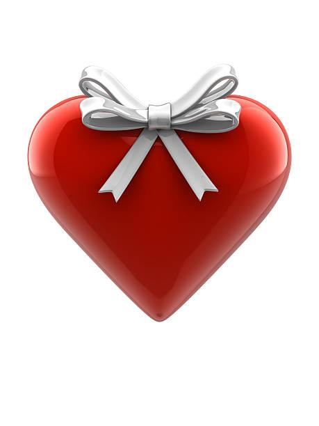 Glossy Heart with Ribbon stock photo