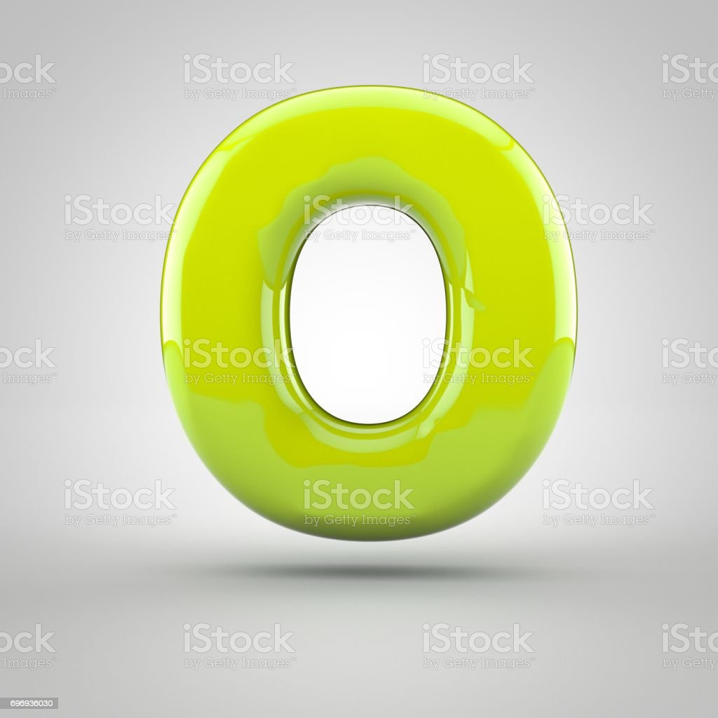 Glossy lime paint letter O uppercase isolated on white background stock photo