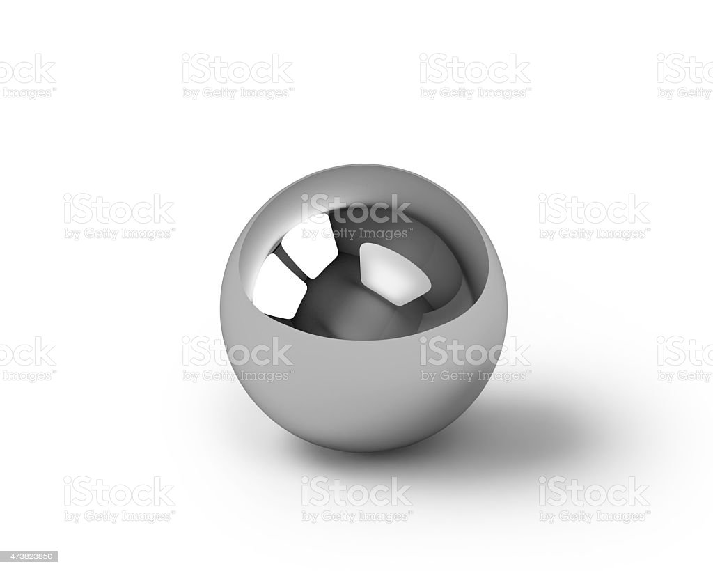 Glossy metal sphere with clipping path royalty-free stock photo