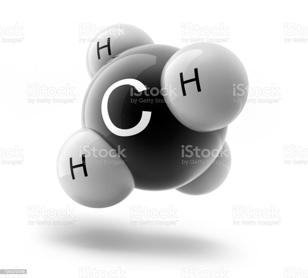Glossy molecule of Methane Glossy molecule structure of methane - Isolated on white background Methane Stock Photo