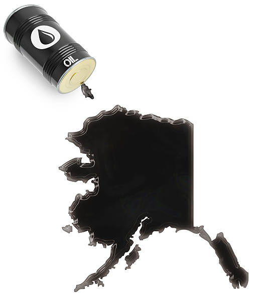 glossy oil spill in the shape of alaska (series) - alaska us state stock photos and pictures