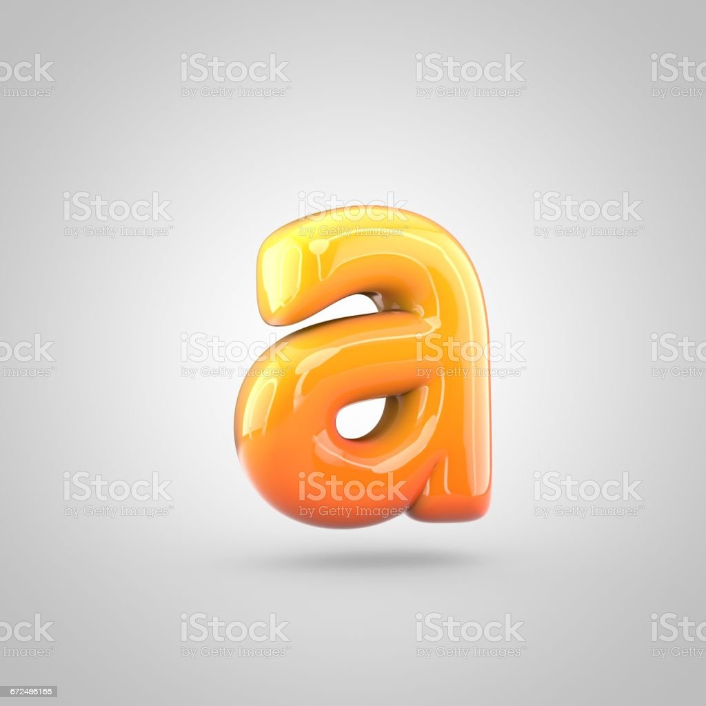 Glossy orange and yellow gradient paint alphabet letter A lowercase isolated on white background stock photo