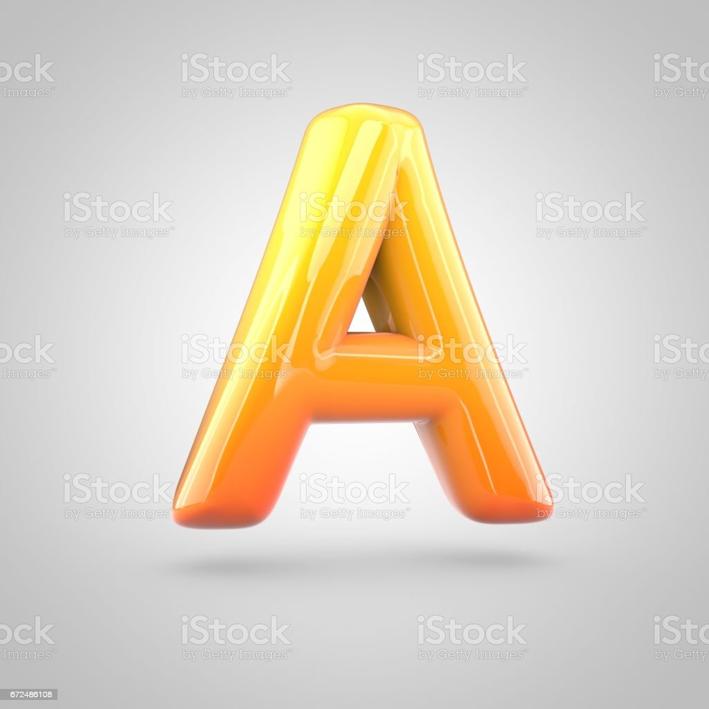 Glossy orange and yellow gradient paint alphabet letter A uppercase isolated on white background stock photo