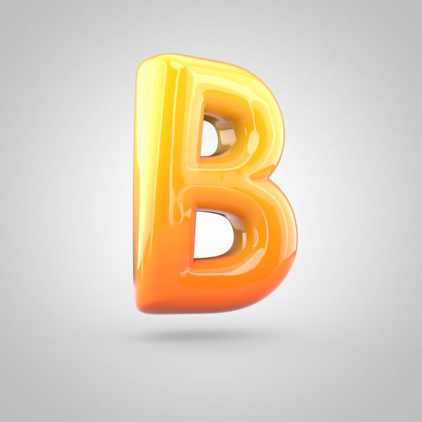 Glossy orange and yellow gradient paint alphabet letter B uppercase isolated on white background stock photo