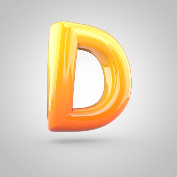 Glossy orange and yellow gradient paint alphabet letter D uppercase isolated on white background stock photo