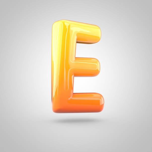 Glossy orange and yellow gradient paint alphabet letter E uppercase isolated on white background stock photo