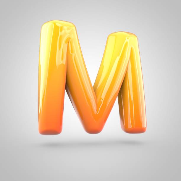 Glossy orange and yellow gradient paint alphabet letter M uppercase isolated on white background stock photo