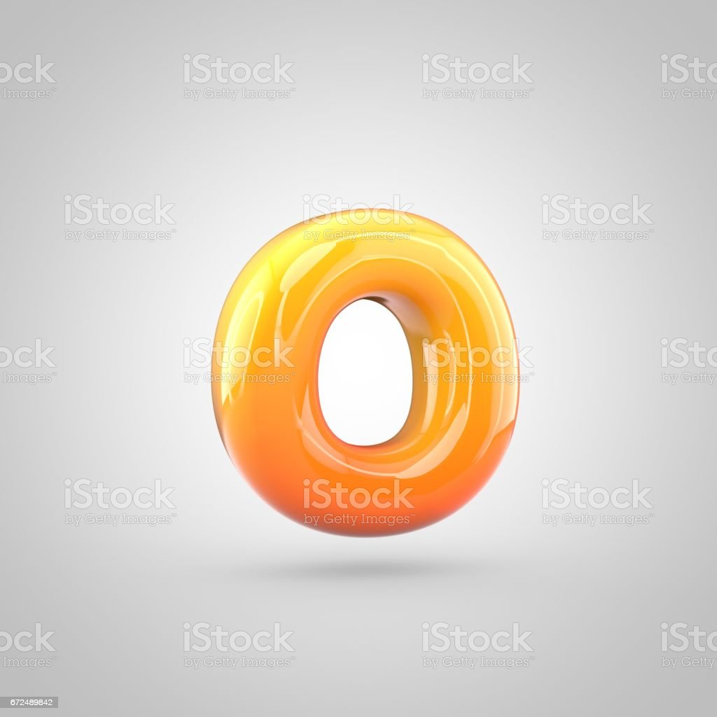 Glossy orange and yellow gradient paint alphabet letter O lowercase isolated on white background stock photo