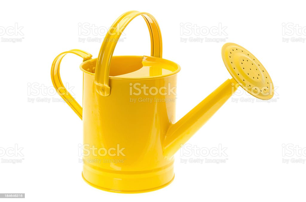 Glossy painted yellow watering can stock photo