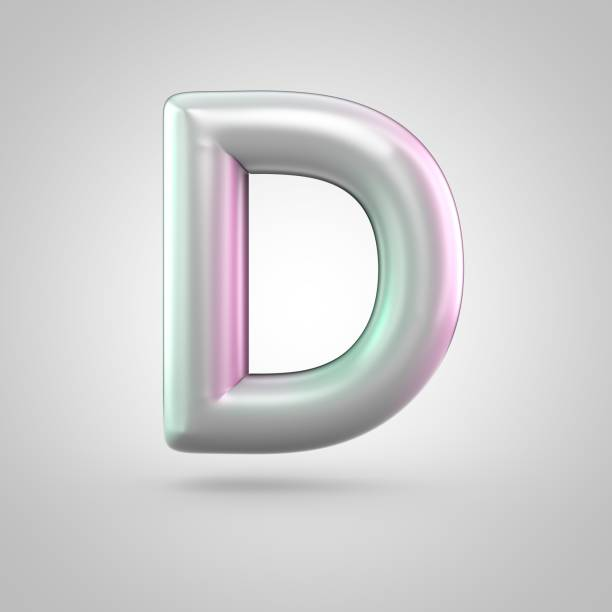 Glossy perl letter D uppercase isolated on white background stock photo