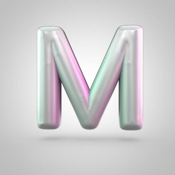 Glossy perl letter M uppercase isolated on white background stock photo