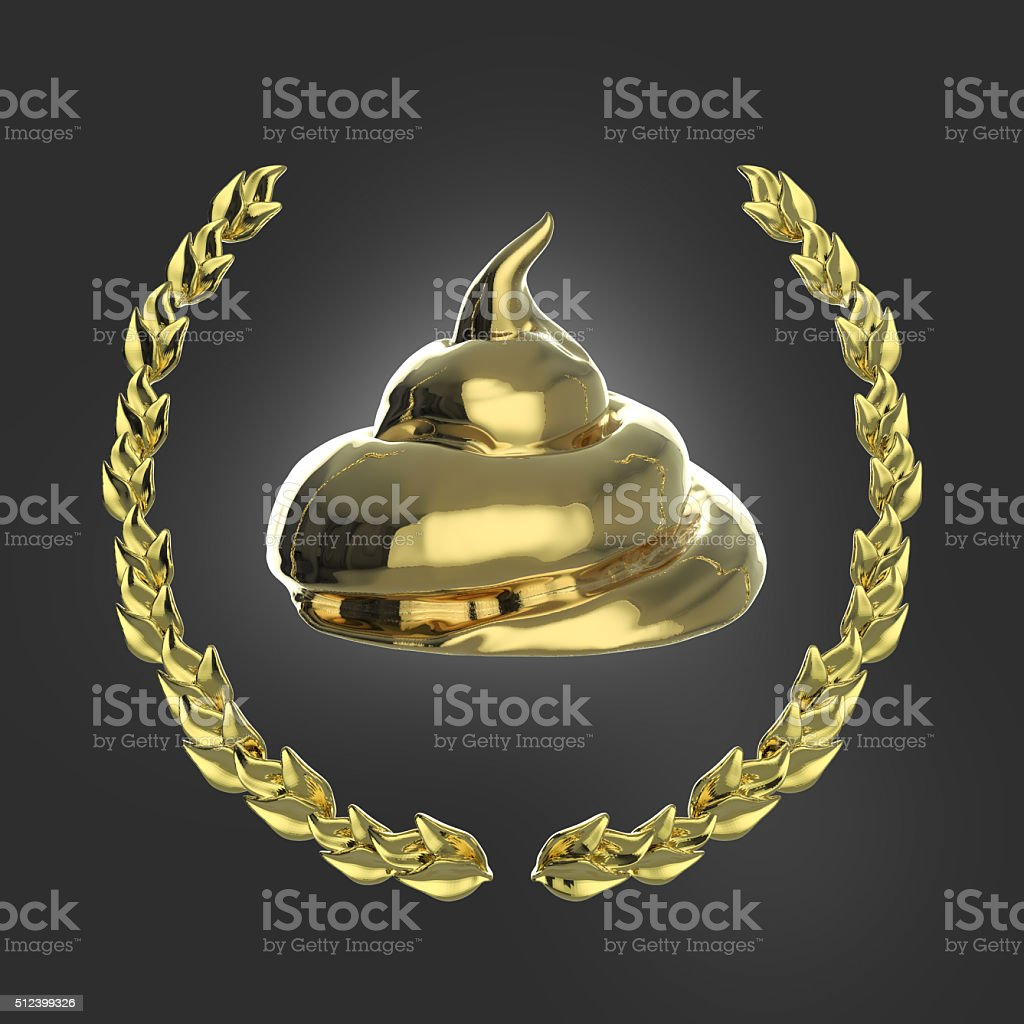 Glossy piece of shit surrounded with golden laurel wreath isolated stock photo