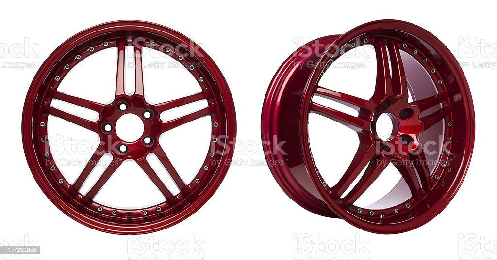 Glossy Red Alloy Wheels stock photo
