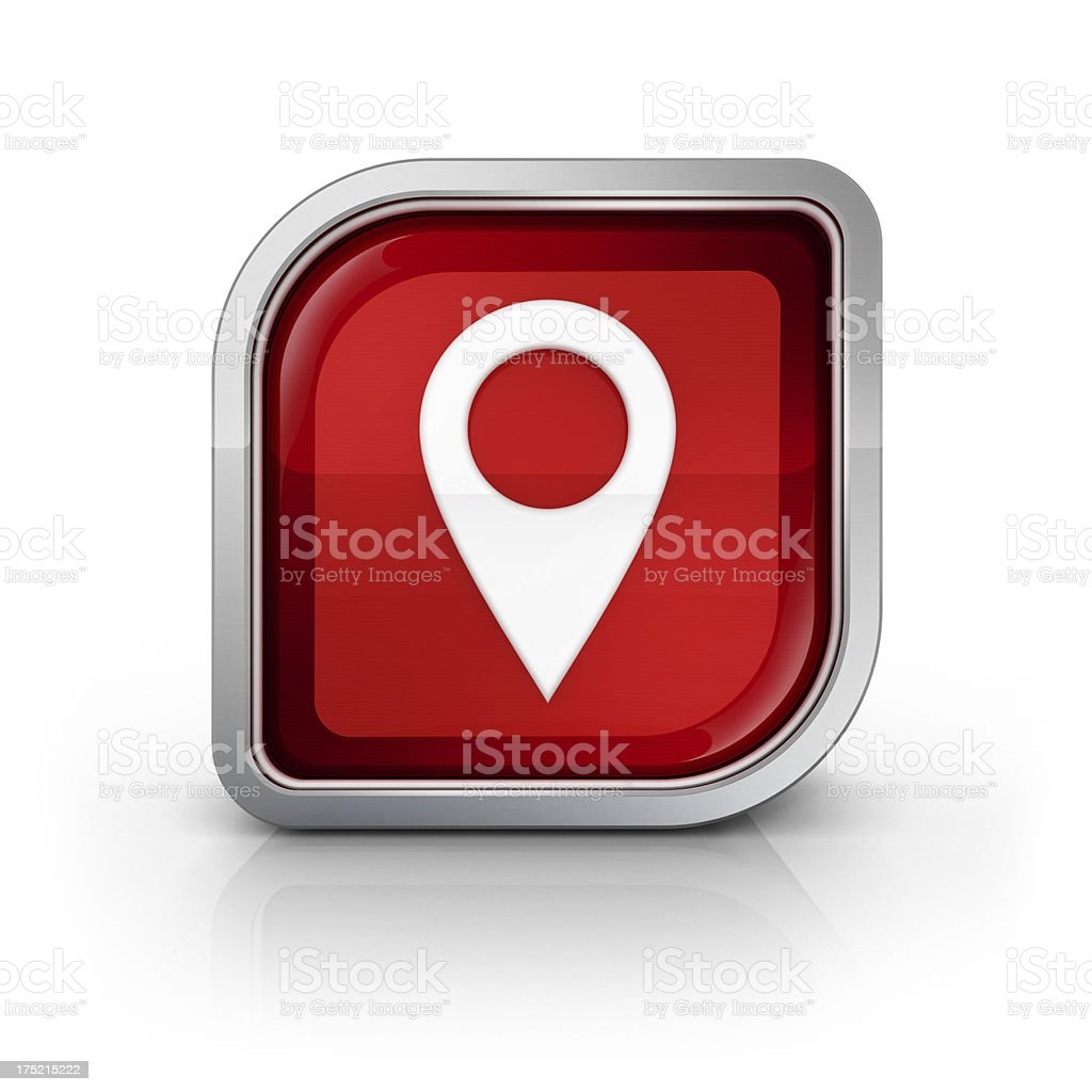 glossy red map pin icon royalty-free stock photo