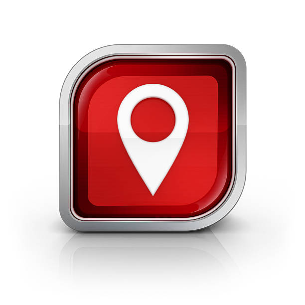 glossy red map pin icon stock photo