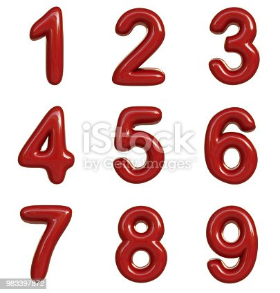 istock Glossy red number. 3D render of bubble font isolated on white background 983397872