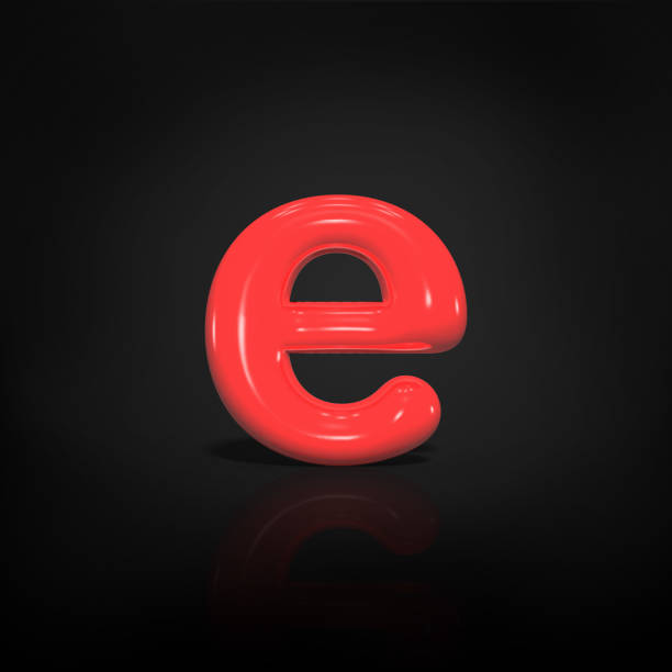 Glossy red paint  letter E lowercase of bubble isolated on black background, 3d rendering illustration. stock photo