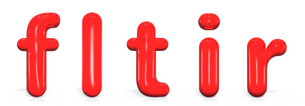 Glossy red paint  letter F, L, T, I, R lowercase of bubble isolated on white background, 3d rendering. stock photo