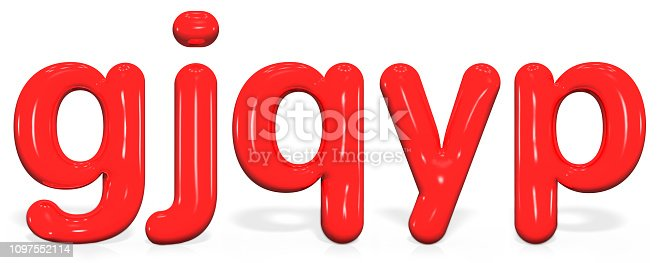1029792184 istock photo Glossy red paint  letter G, J, Q, Y, P lowercase of bubble isolated on white background, 3d rendering. 1097552114