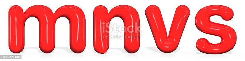 1029792184 istock photo Glossy red paint  letter M, N, V, S lowercase of bubble isolated on white background, 3d rendering 1097552082