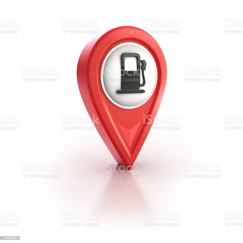 glossy red pin icon with gas station sign stock photo