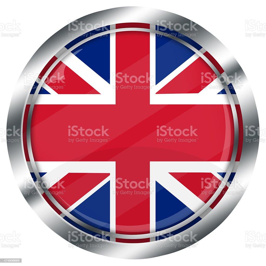 Lucido Tondo Bandiera Britannica Pulsante Di Web Su Sfondo Bianco