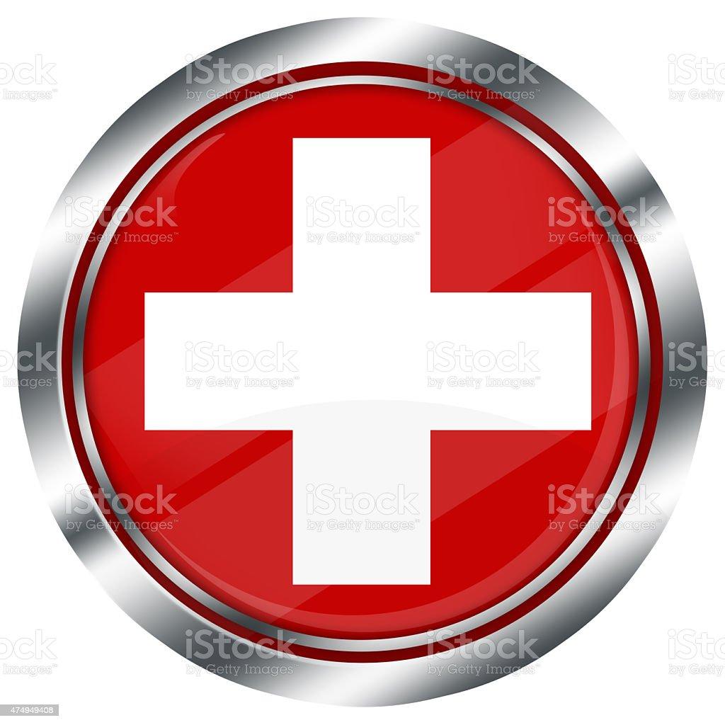 Lucido Tondo Bandiera Della Svizzera Pulsante Di Web Su Sfondo