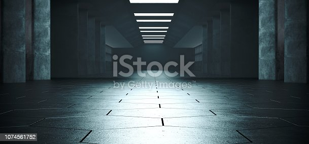 909529832 istock photo Glossy Sci Fi Empty Dark Concrete Modern Futuristic Alien Hexagon Floor Corridor Empty Tunnel With Reflections And White Blue Ceiling Lights 3D Rendering 1074561752